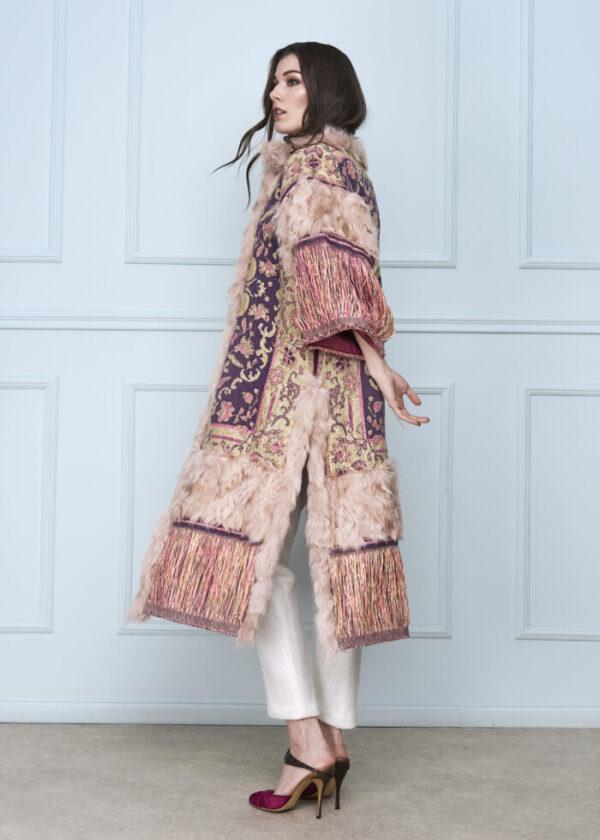Long Pink Fringe Coat